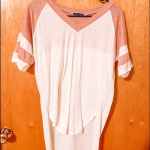 White and Pink long Tee shirt